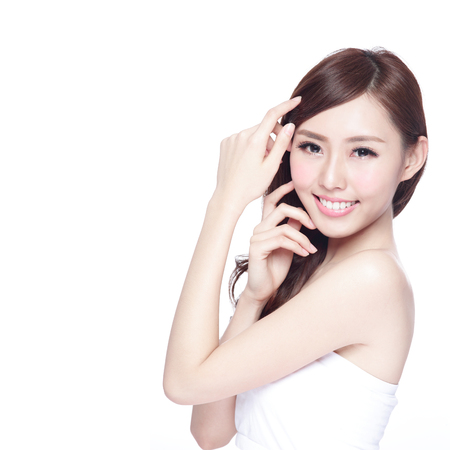 53522345 - beauty woman with charming smile to you with health skin, teeth and hair isolated on white background, asian beauty