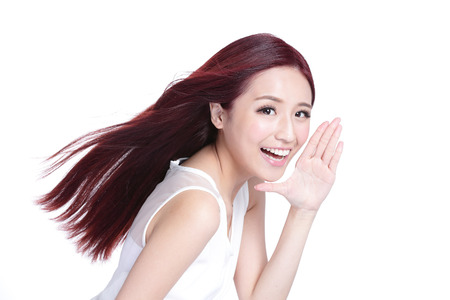 42940568 - beauty woman with charming smile to you with health skin, teeth and hair isolated on white background, asian beauty
